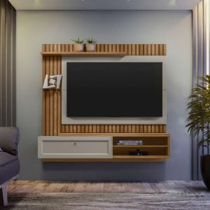 "PAINEL HOME TOCANTINS PARA TV'S ATÉ 55"" - LARG.: 1,60M./AMÊNDOA /TITÂNIO"