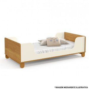 MINI CAMA ZUPY LAQUEADA ECO WOOD ./FREIJO/OFF WHITE