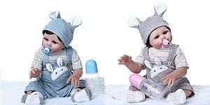 Bebê Reborn Gêmeos,100% Silicone, 49cm, Pronta Entrega