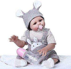 Bebe Reborn Menina, toda em Silicone, 49cm - Pronta Entrega