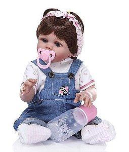 Bebê Reborn Menina, Roupinha Jeans, Bebe Reborn Silicone