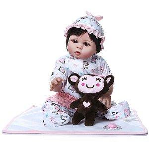 Bebê Reborn de Silicone, com Ursinho Pronta Entrega