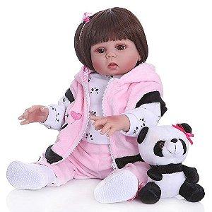 Bebe Reborn Panda, 49cm, Bebê Reborn Silicone