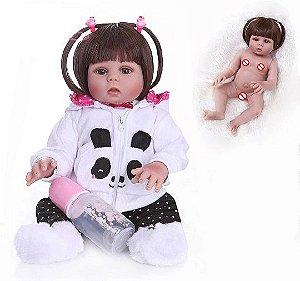 Bebê Reborn Pandinha, 49cm, Bebê Reborn de Silicone