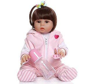 Bebê Reborn Silicone, 49cm, Roupa de Porquinho