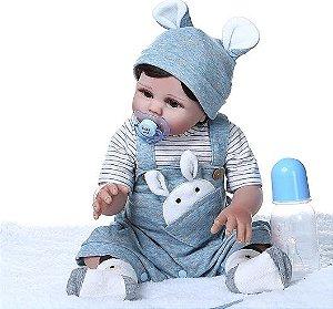 Bebê Reborn Menino, 100% Silicone, 49cm