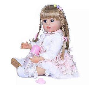 Bebê Reborn Menina, 55cm,( Bebe Reborn Loira com cabelo grande )