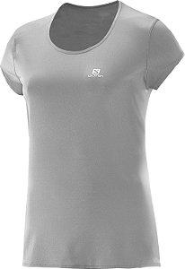 Camiseta Salomon Sonic SS UV Feminino - Cinza Claro - P