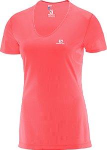 Camiseta Salomon Comet SS Feminino - Coral Fluorecente