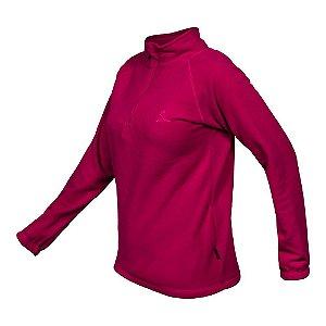 Blusa Curtlo 1/2 Zip Thermo Fleece Feminino - Rosa Cereja