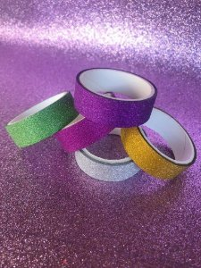 kit Washi tape! Fitas decorativas maravilindas de glitter! 5 und