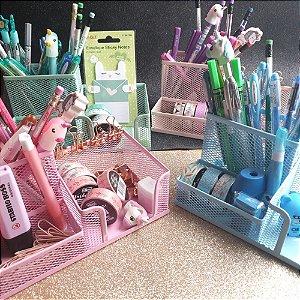 Porta lápis aramado 3 em 1 tom pastel