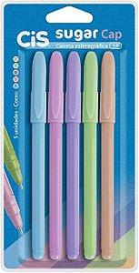 Kit 5 cores Caneta Cis Sugar Cap pastel