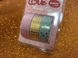 Washi Tape Molin - seta/coração/bolinhas