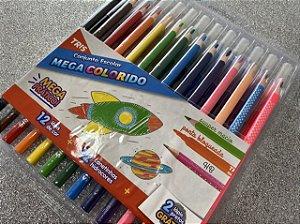 Conjunto Tris 12 Canetinhas + 12 Lápis de Cor