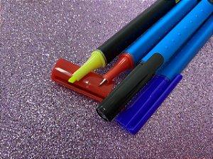 Caneta Tris Liqeo Super Fina - Estojo 3 cores básicas + 1 neon
