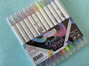 Caneta Dual Brush & Fineliner BRW - Estojo com 12 cores