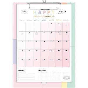 Calendário prancheta 2021 - Happy - Tilibra