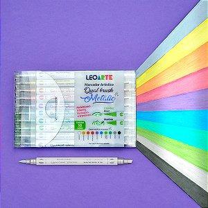 Marcador Dual Brush Metalic Leo&Leo - Estojo com 12 cores