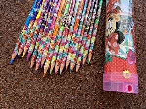 Lápis de Cor Minnie - Tubo com 24 cores + apontador