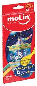 Lápis de Cor Metálico e Pastel 12 cores - Molin
