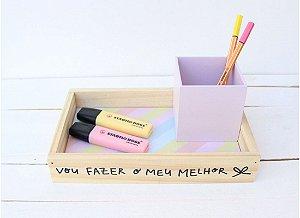 Bandeja + Porta Lápis MDF - Vou Fazer o Meu Melhor - Papelote