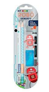 Kit lápis, borracha e apontador Robô - Leo&Leo