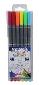 BRW Fineliner - Estojo com 6 cores neon