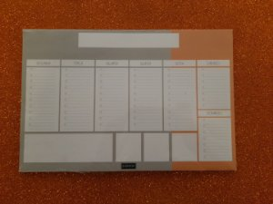 Planner de mesa Evertop cinza + laranja - bloco destacável