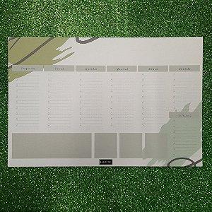 Planner de mesa Evertop estampa orgânica cor verde - bloco destacável