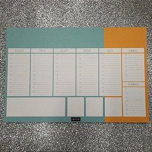 Planner de mesa Evertop verde água + laranja - bloco destacável