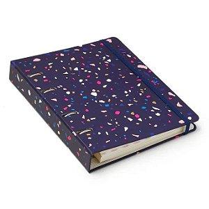Caderno Criativo Argolado - Terrazo - Pautado - 17x24 - Azul Marinho - Cícero