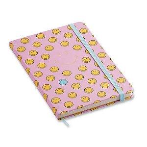 Caderneta Smiley Rosa - 14X21 - pontado
