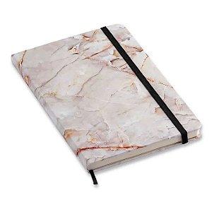 Caderneta Pontada Mármore Branco Minerais 14x21 - Cícero