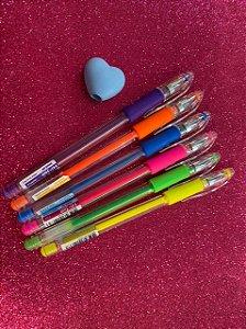 Caneta Gel Grip Neon Molin - Kit com 6 cores + brinde!