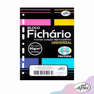 Bloco Fichário Merci Colegial Pautado Universal Cores Candy - 40 folhas