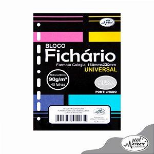 Bloco Fichário Merci Colegial Pontilhado Universal Cinza - 40 folhas