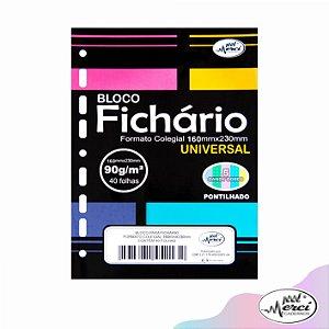 Bloco Fichário Merci Colegial Pontilhado Universal Cores Candy - 40 folhas