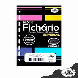 Bloco Fichário Merci Colegial Pautado Universal Preto - 40 folhas
