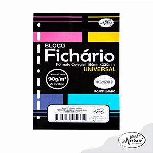 Bloco Fichário Merci Colegial Pontilhado Universal Branco - 80 folhas