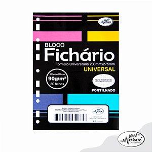 Bloco Fichário Merci Universitário Pontilhado Universal Branco - 80 folhas