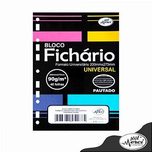 Bloco Fichário Merci Universitário Pautado Universal Preto  - 40 folhas