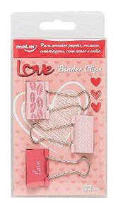 Binder Clips 32mm - Molin Love - 3 unidades