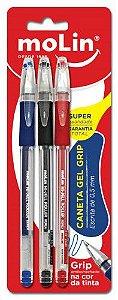 Caneta Gel Grip - Molin -  Estojo com 3 Cores Clássicas