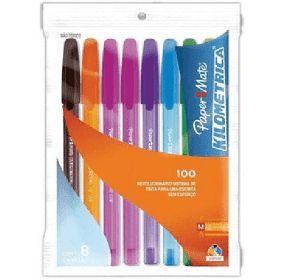 Caneta Esferográfica Paper Mate Kilometrica Colors Estojo com 8 Sortidas