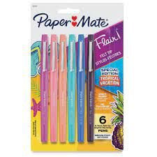 Caneta Hidrocor Paper Mate Flair Tropical Vacation 6 cores
