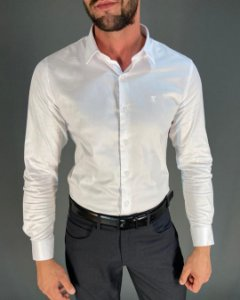Camisa Social Slim com Elastano Manga Longa Masculina Lucage
