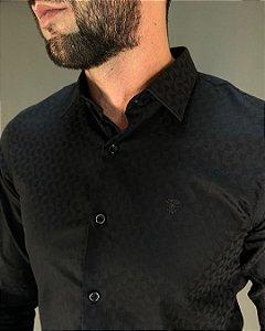 Camisa Social Slim de Algodão Egípcio Manga Longa Masculina Lucage