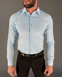 Camisa Confort Manga Longa Quadriculada Masculina Lucage