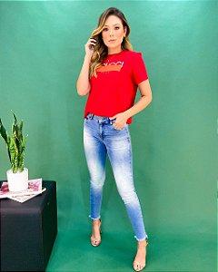 Calça Jeans Barra Desfiada Feminina